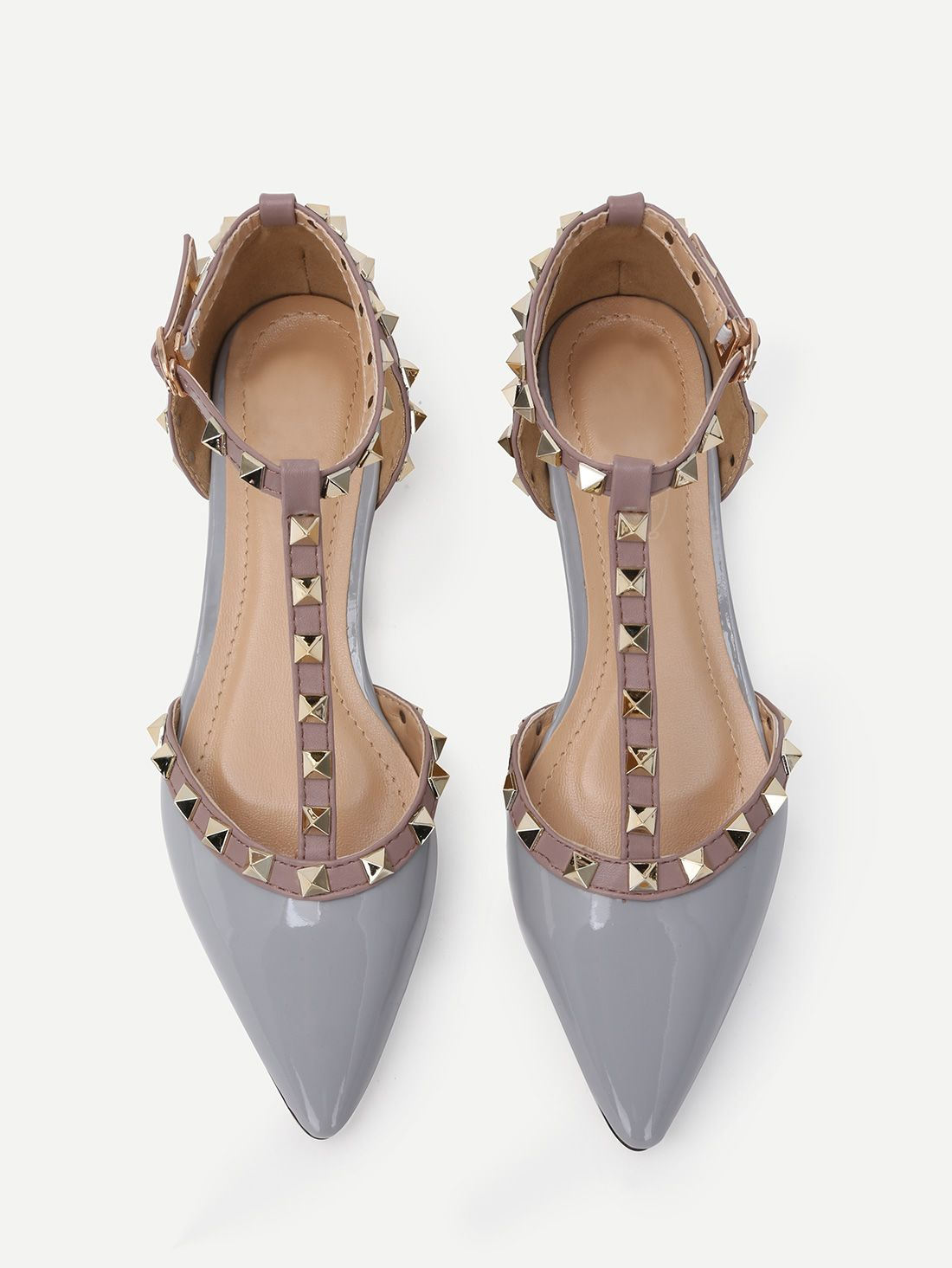 f9d89ff5c1072 Shop Grey Faux Patent Studded T-Strap Flats online. SheIn offers Grey Faux  Patent Studded T-Strap Flats   more to fit your fashionable needs.