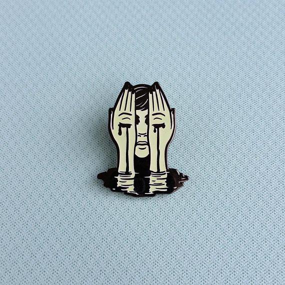 Crying Hands Hard Enamel Pin - Black Nickel, White Glow