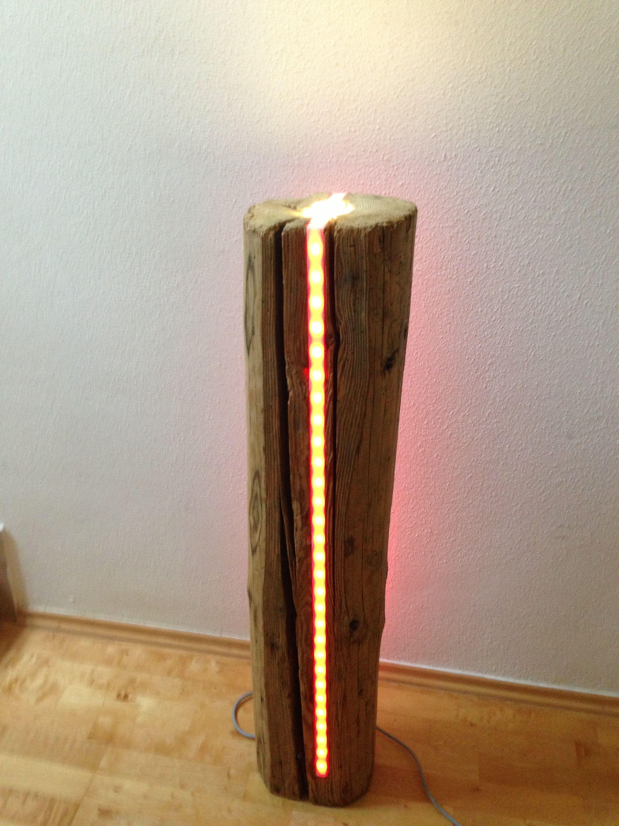 Deko Led Lampe Aus Sehr Altem Holz Lichtsaule Mit