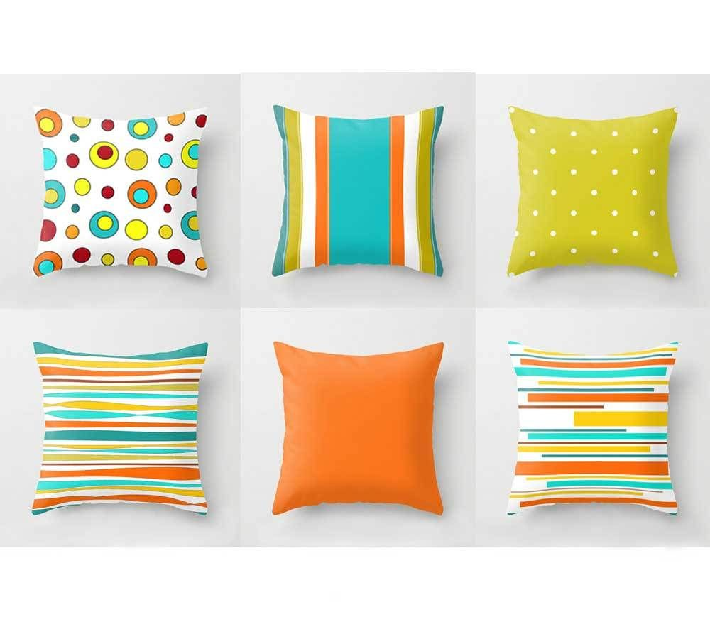 Orange Green And Turquoise Pillow Covers With Stripes And Polka Dots Brigh Unique Decorative Pillows Pillows Decorative Patterns Colorful Throw Pillow Covers