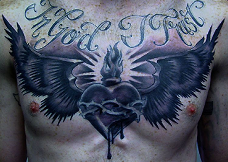 Sacred Heart Wings Chest Piece Ej S Chest Piece Pinterest
