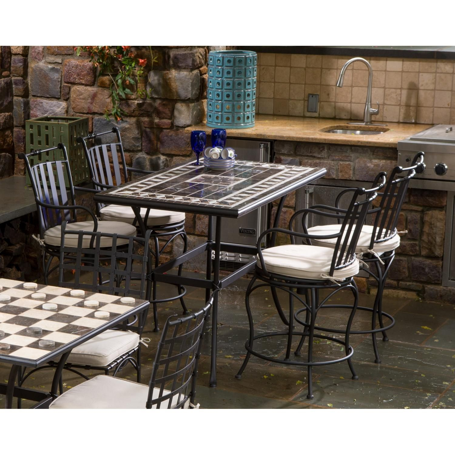 Lovely Alfresco Home Gibraltar 4 Person Mosaic Dining Set