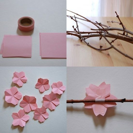 Make Your Own Cherry Blossoms Flower Crafts Crafts Paper Flowers