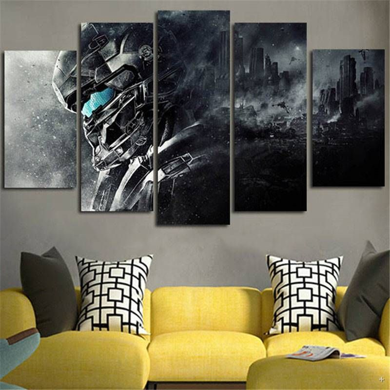 5piece Home Decoration Wall Art Canvas Prints Halo 5 Guardians Video Game Posters Painting Prints Art Quadros Anime Canvas Gaming Wall Art Blue Wall Art Canvas
