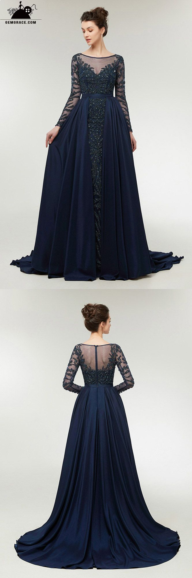 All beading navy blue slim prom dress with sleeves cape skirt c