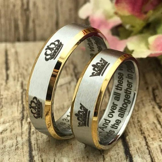6mm Crown Ring King Queen Stainless Steel Wedding Band Rings His