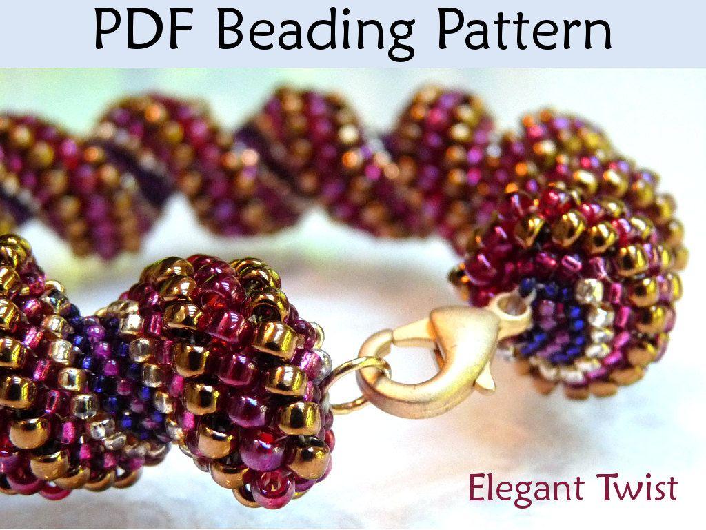 PDF Jewelry Pattern, Cellini Spiral, Tubular Peyote, Beaded Bracelet Patterns, Bracelets, Beading Tutorials, Instructions, Beading Projects. $8.00, via Etsy.