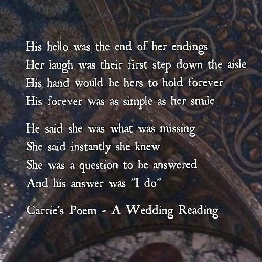 Carries Poem A Wedding Reading