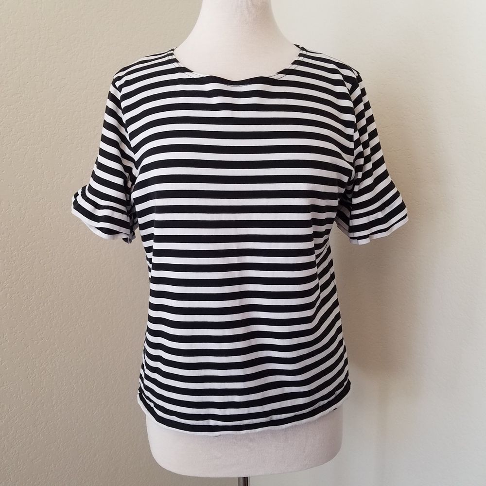 62b8e8f38f9c7 J. Crew Womens Size Large Navy Blue   White Striped Ruffle Sleeve Knit Top   JCREW  Blouse
