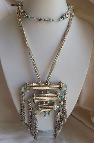 Three cylinders prayer boxes and frings in Yemenite style necklace