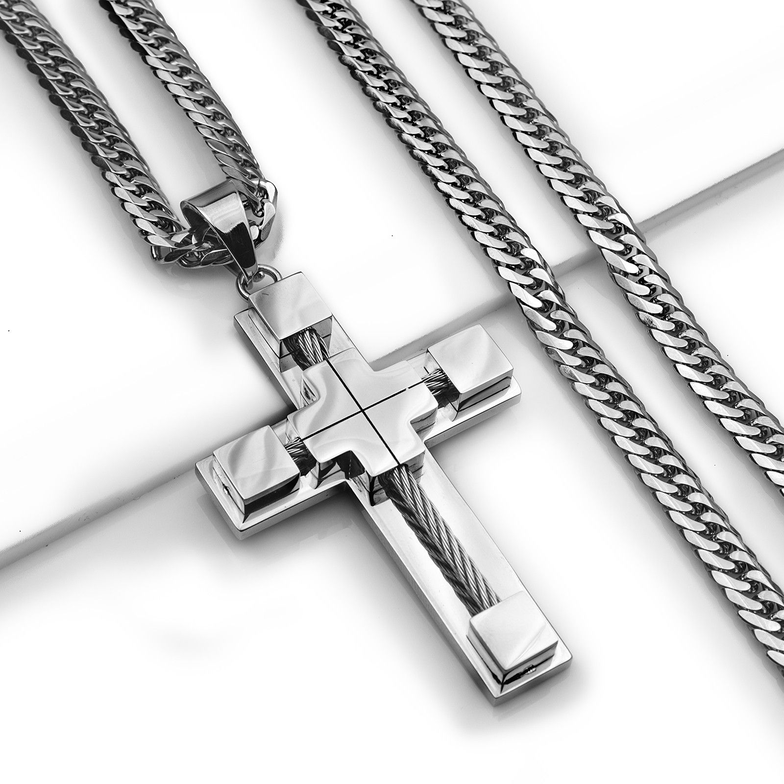 """24"""" MEN s Stainless Steel 6mm Silver Double Cuban Curb Chain"""