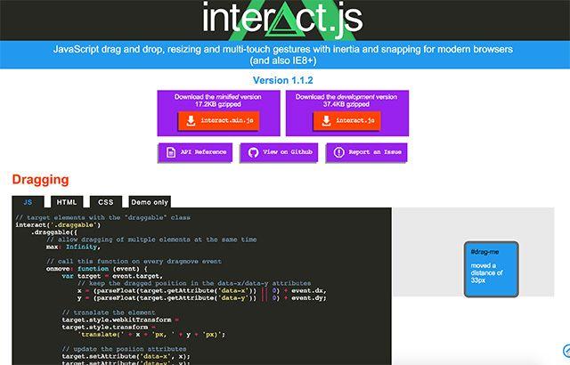 Interact js - Plugin for drag and drop, resizing, etc   Code stuff
