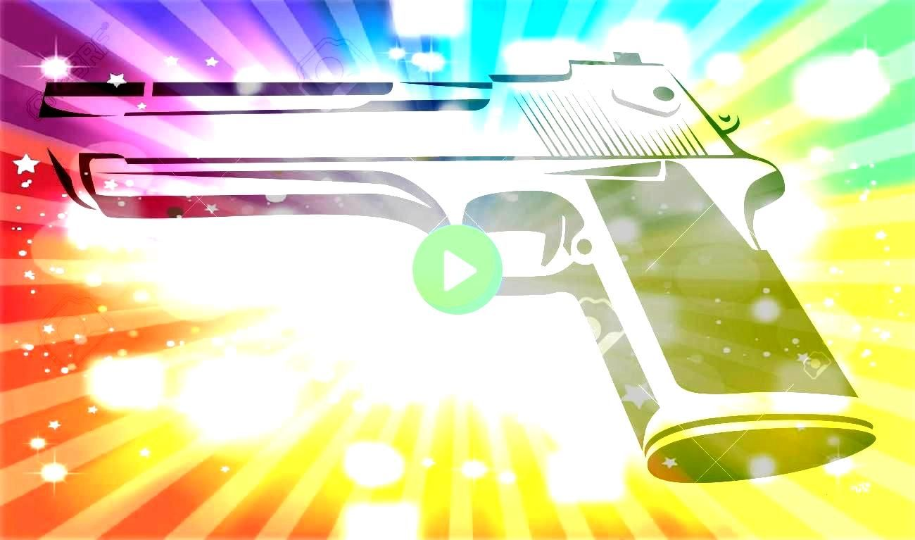 black and white  Power Pistol isolated on white Style Design of Force Weapon Vector Illustration Illustration Desert Eagle in black and white  Power Pistol isolated on wh...