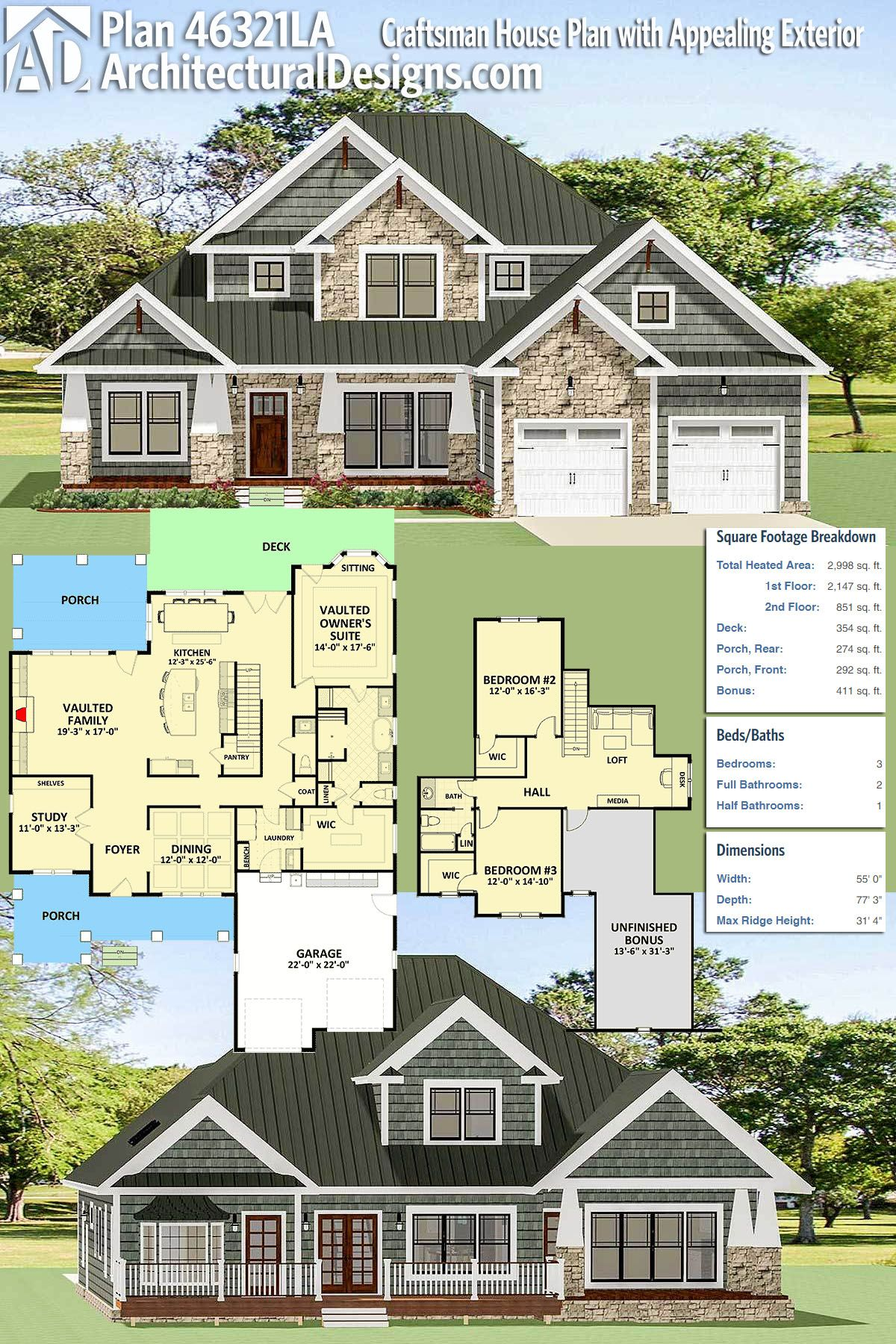 Plan 46321la Craftsman House Plan With Appealing Exterior Craftsman House Plans Craftsman House House Plans