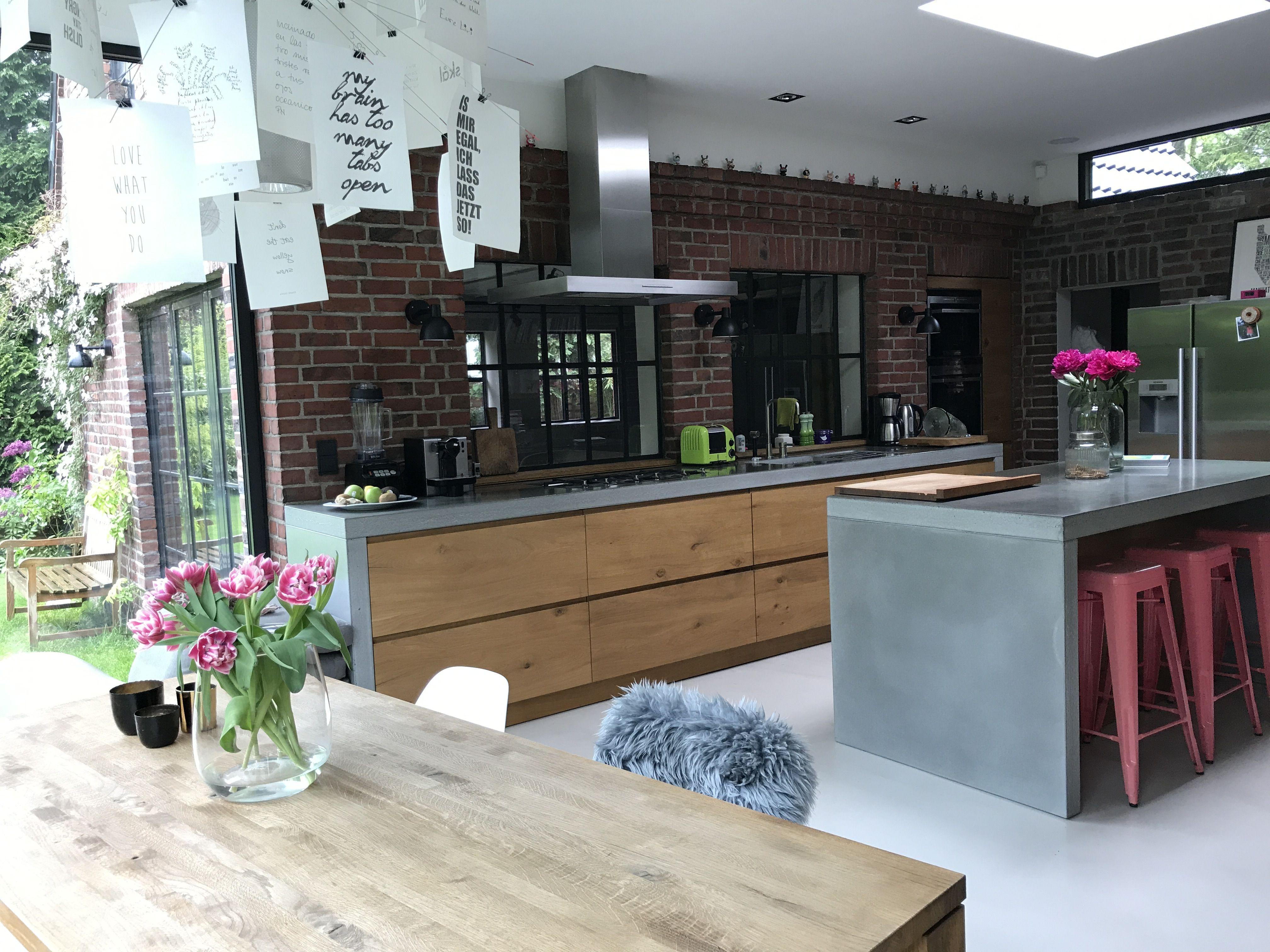 küche mit holz und beton  küche beton küche betonfußboden