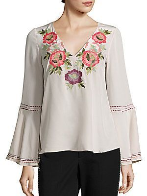 Nanette Lepore Toscana Embroidered Silk Top