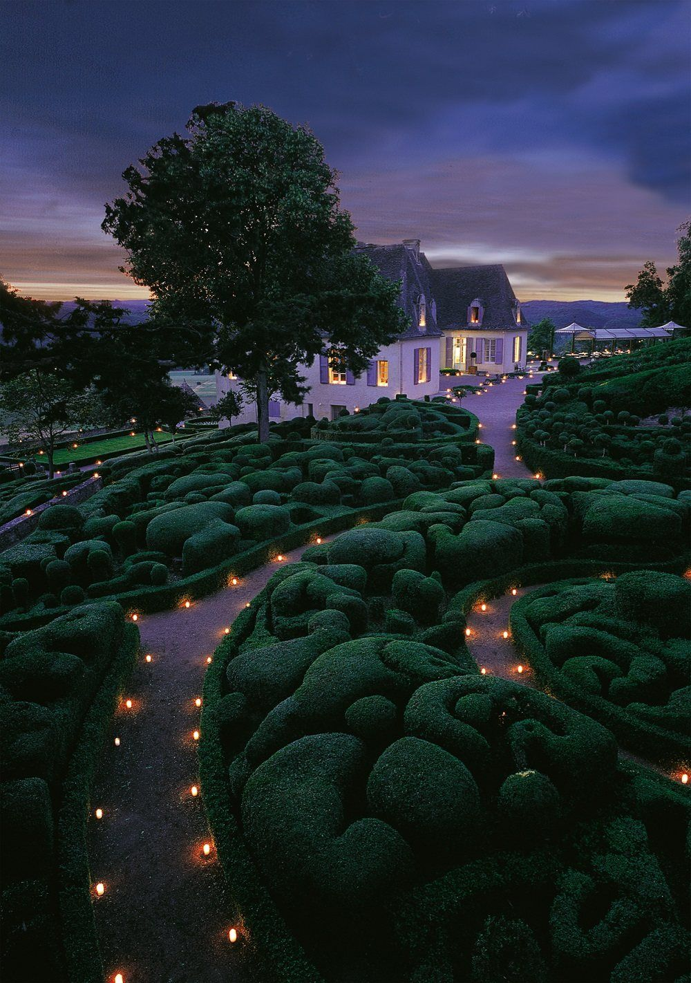 Gardens lit by candles