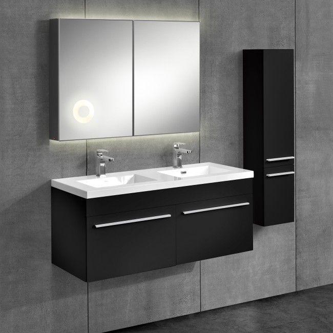 Neu Haus 3 Teiliges Badezimmerschrank Set Schwarz Mit Waschbecken Spiegel Unterschrank Hochschrank Badezimmer