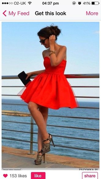 dress red skater formal ball prom prom dress brunette summer outfits heels shoes