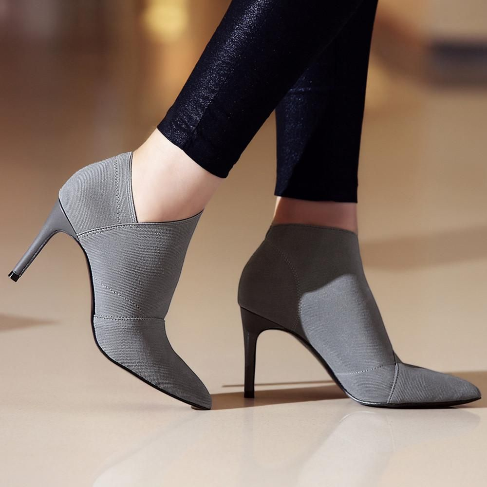 Genuine Leather+Microfiber Ankle Boots Women Fashion Boots Pointed 25