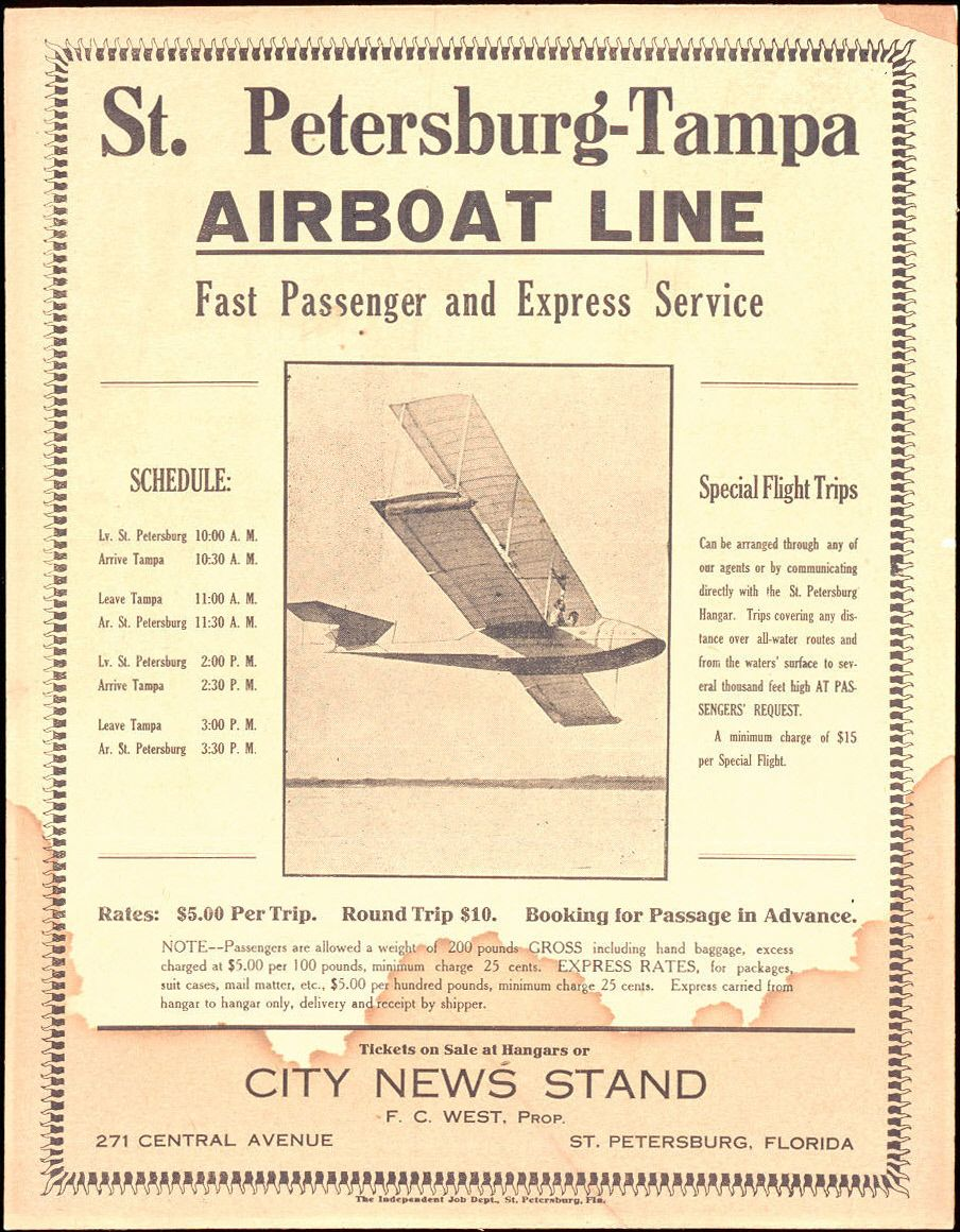 On January 1, 1914, the world's first scheduled airline