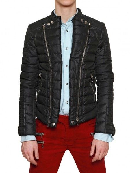 Mens Black Double Zipped Quilted Nylon Biker Jacket Balmain And