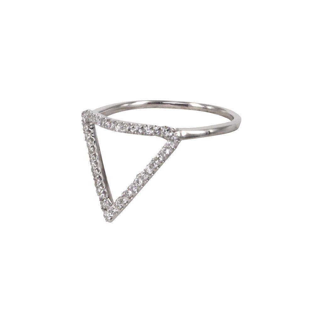 """Triangle"" 18K White Gold Diamond Ring - Plukka - Shop Fine Jewelry Online"
