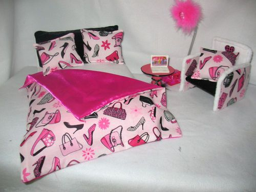 Barbie Doll Furniture Double Bed Set Table Chair Working Lamp ...