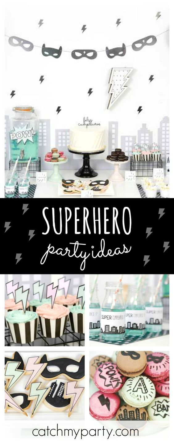 Check out this amazing Modern Superhero birthday party. Absolutely love the decor!! See more party ideas and share yours at CatchMyParty.com #boybirthdayparties