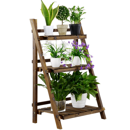 3 Tier Folding Wooden Flower Pot Stand Flower Plant Display Stand Shelf Ladder Stand Brown Wooden Plant Stands Plant Stand Plant Shelves