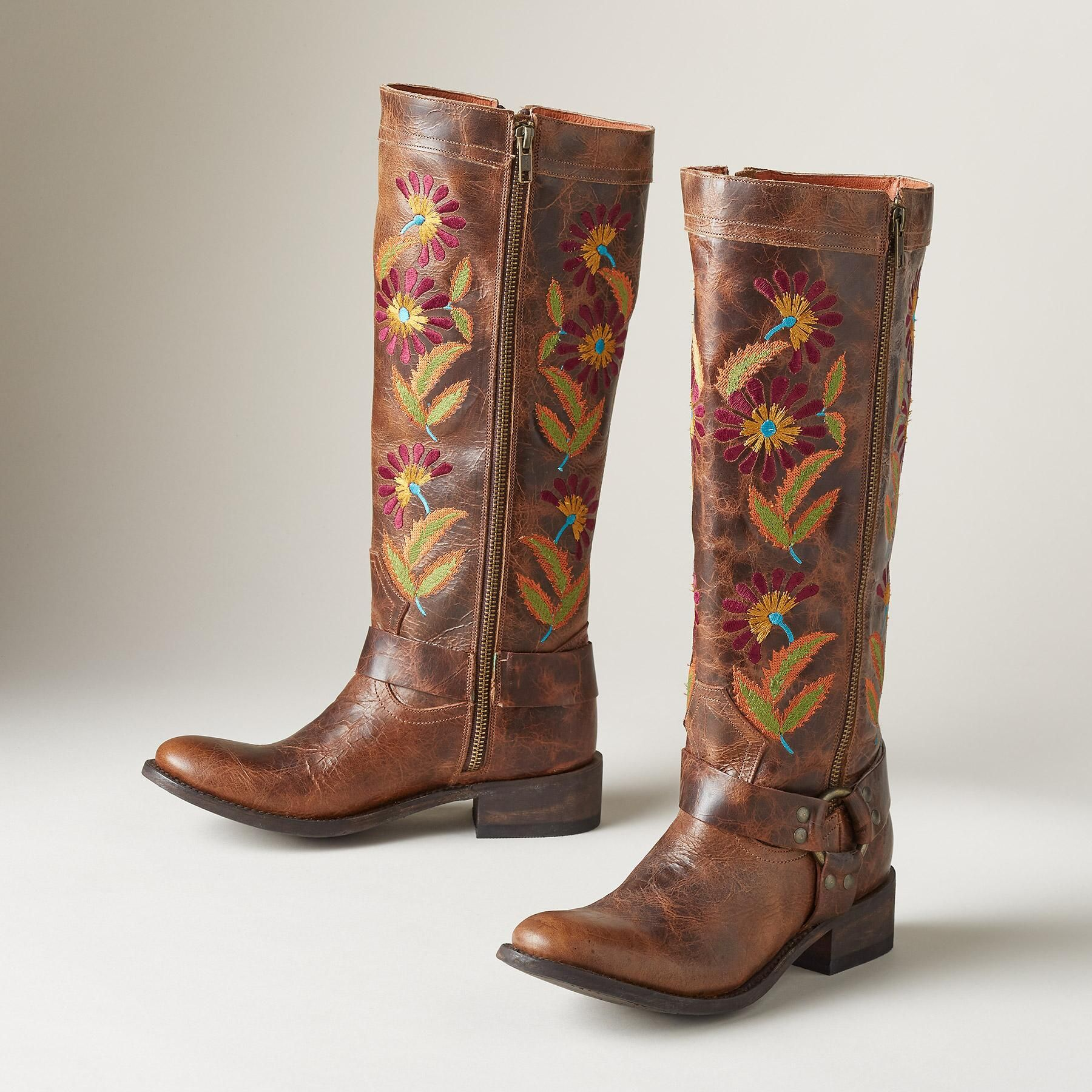 dc6b888dedeb4 CALENDULA BOOTS -- Embroidered wildflowers, in fiery, sunset tones ...