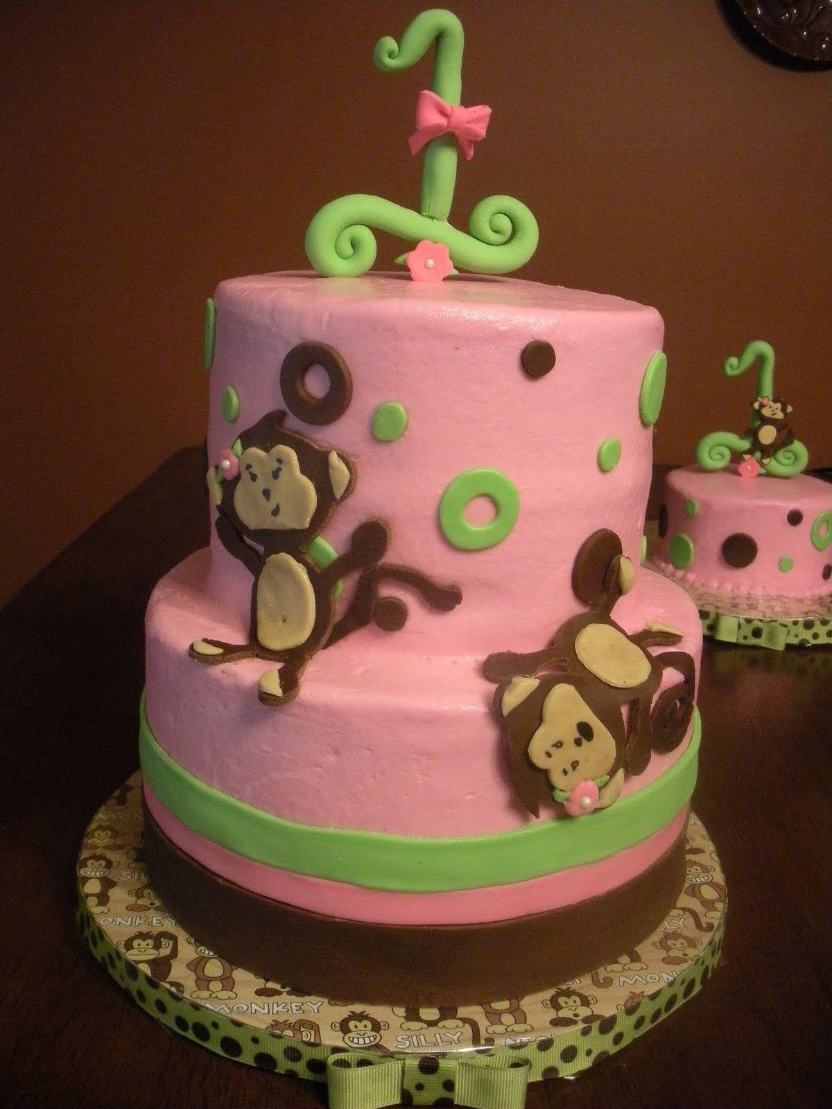 Remarkable Megan Sunderman Cute Girl Monkey 1St Birthday Party Cake Monkey Personalised Birthday Cards Petedlily Jamesorg