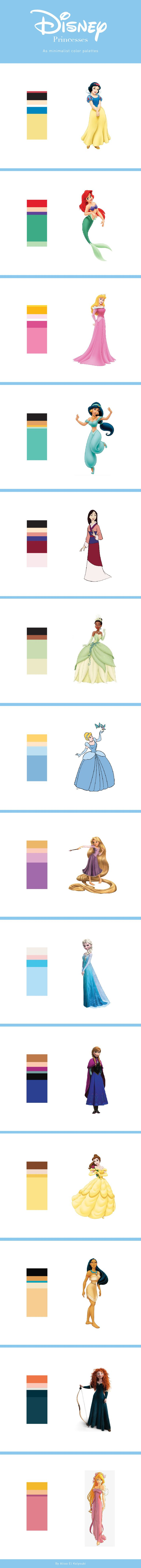 good Disney Princess Signature Colors Part - 3: Minimalist Disney Princesses Color Palettes by Aliaa El Kalyoubi