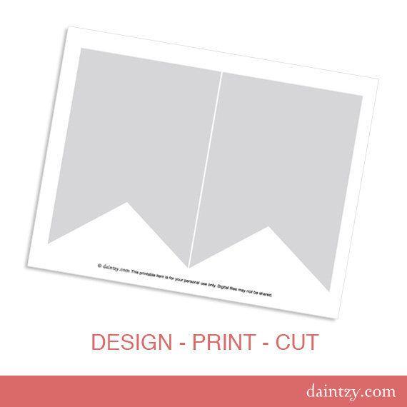 Instant Download: Party Printable Template - DIY Banner Flag Design