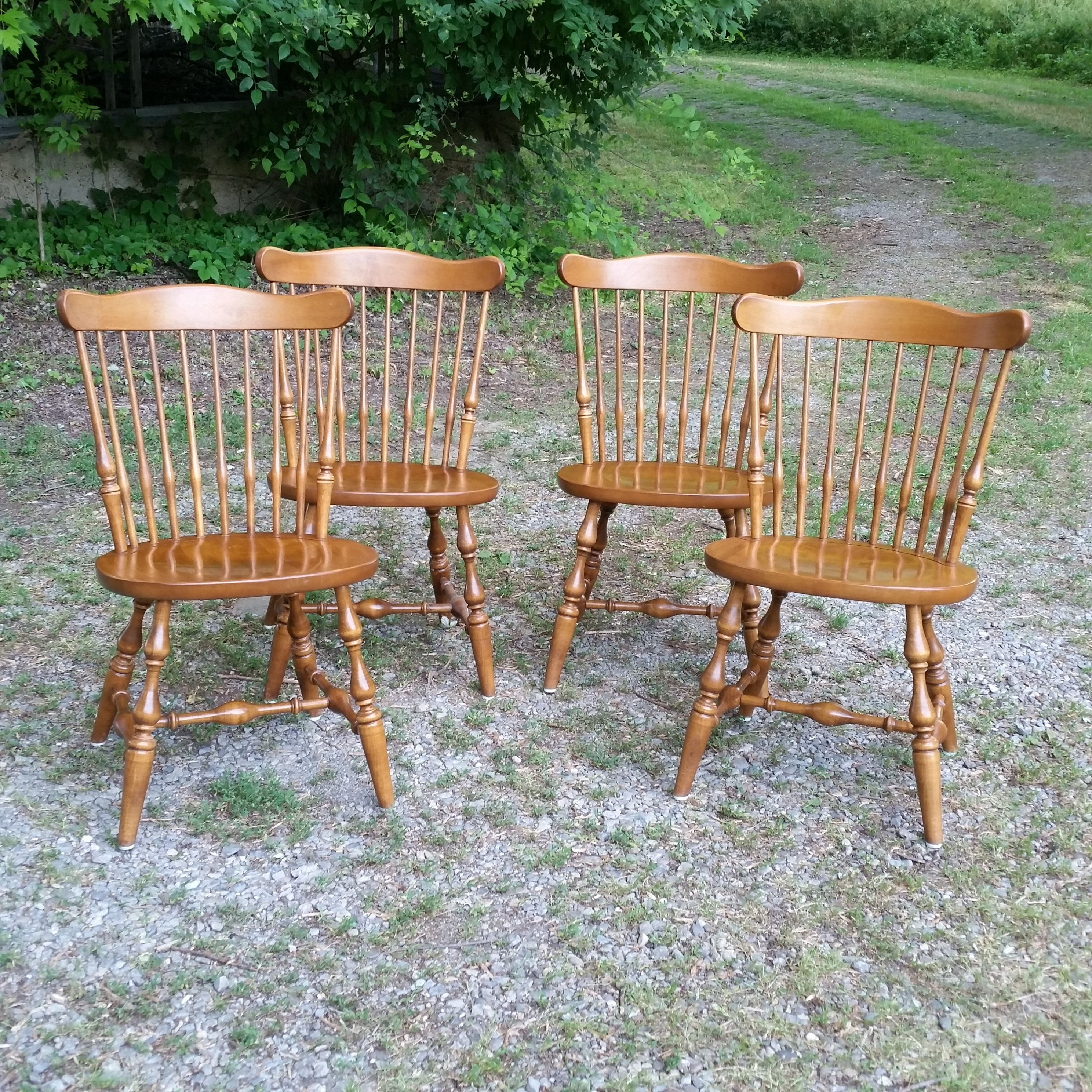 ETHAN ALLEN Elements Maple Dining Side Chairs Pair 2
