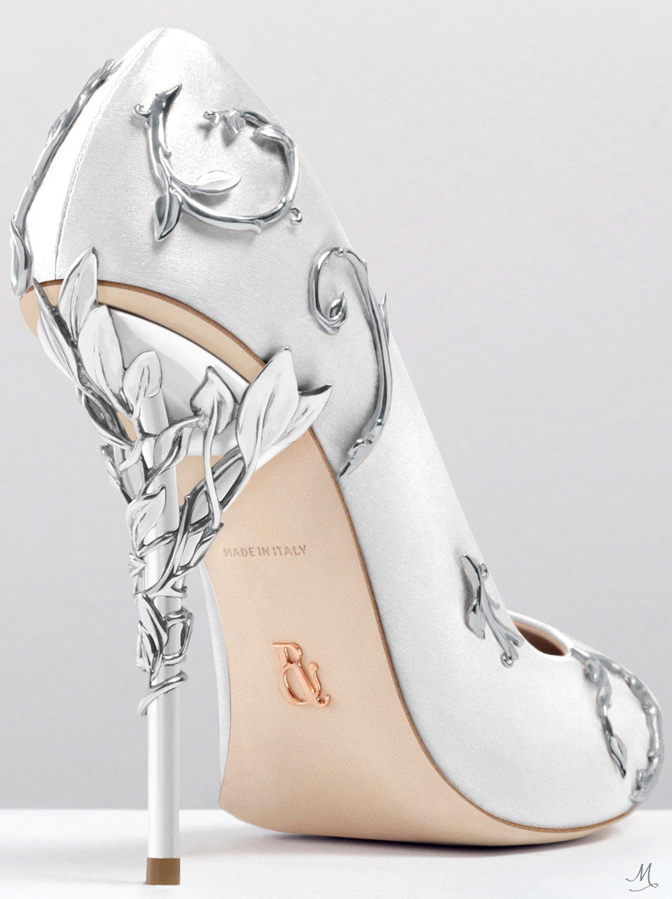 aa72181c00 RALPH & RUSSO EDEN PUMP WHITE SATIN WITH SILVER LEAVES | Pumps ...