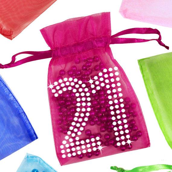 21st Birthday Organza Bag With Rhinestones