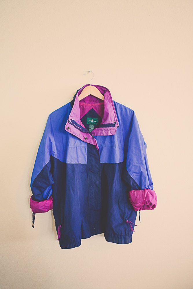 fe7e0fed5 90's Windbreaker Navy blue Periwinkle Magenta Purple Jacket Coat ...