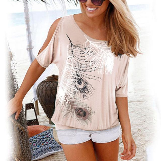 Womens Ladies Short Sleeve Blouse Batwing Casual Off The Shoulder T-Shirt Tops