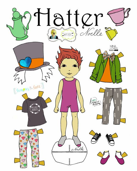 "Opposite of Far, Story Book, collaboration, ""The Mad Hatter & March Hare"" Paper-Doll set, printable paper dolls, Alice in Wonderland"