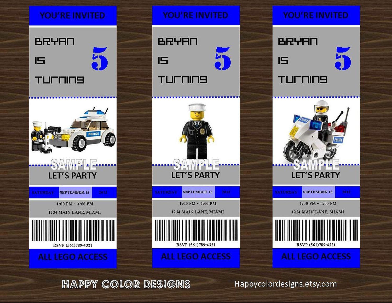 Lego Police Invitation - Printable Lego Police Birthday Party Ticket ...