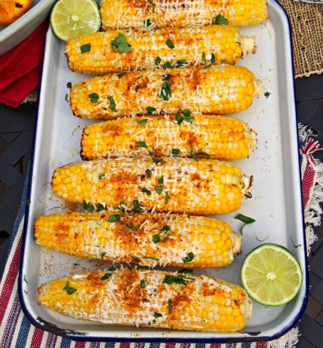 This grilled corn is topped with greek yogurt and parmesan for Side dish recipes for grilling out