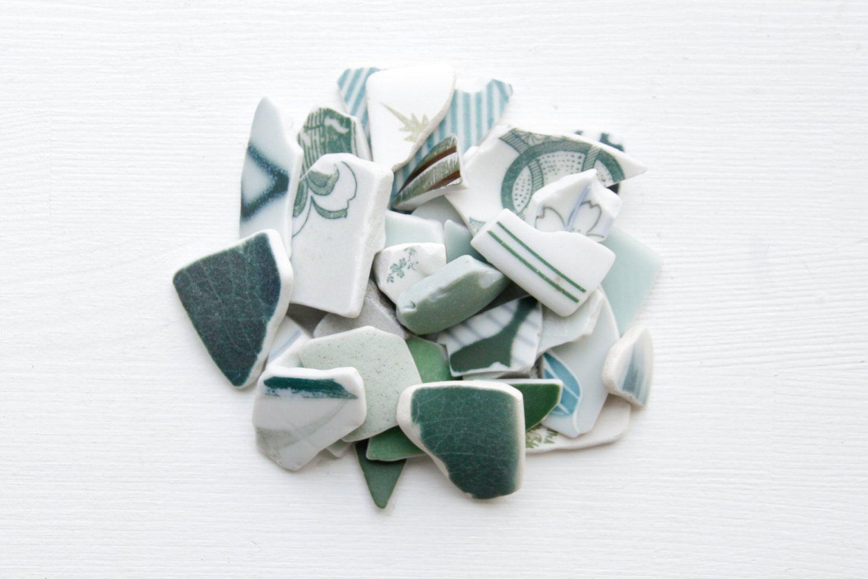 Bulk 30 Pieces of Japanese Green Pottery,Beach Pottery,Coastal Home Decor,Antique,Craft Pottery Ceramic,Japanese Vintage Design, Mosaic by ReverseGem on Etsy