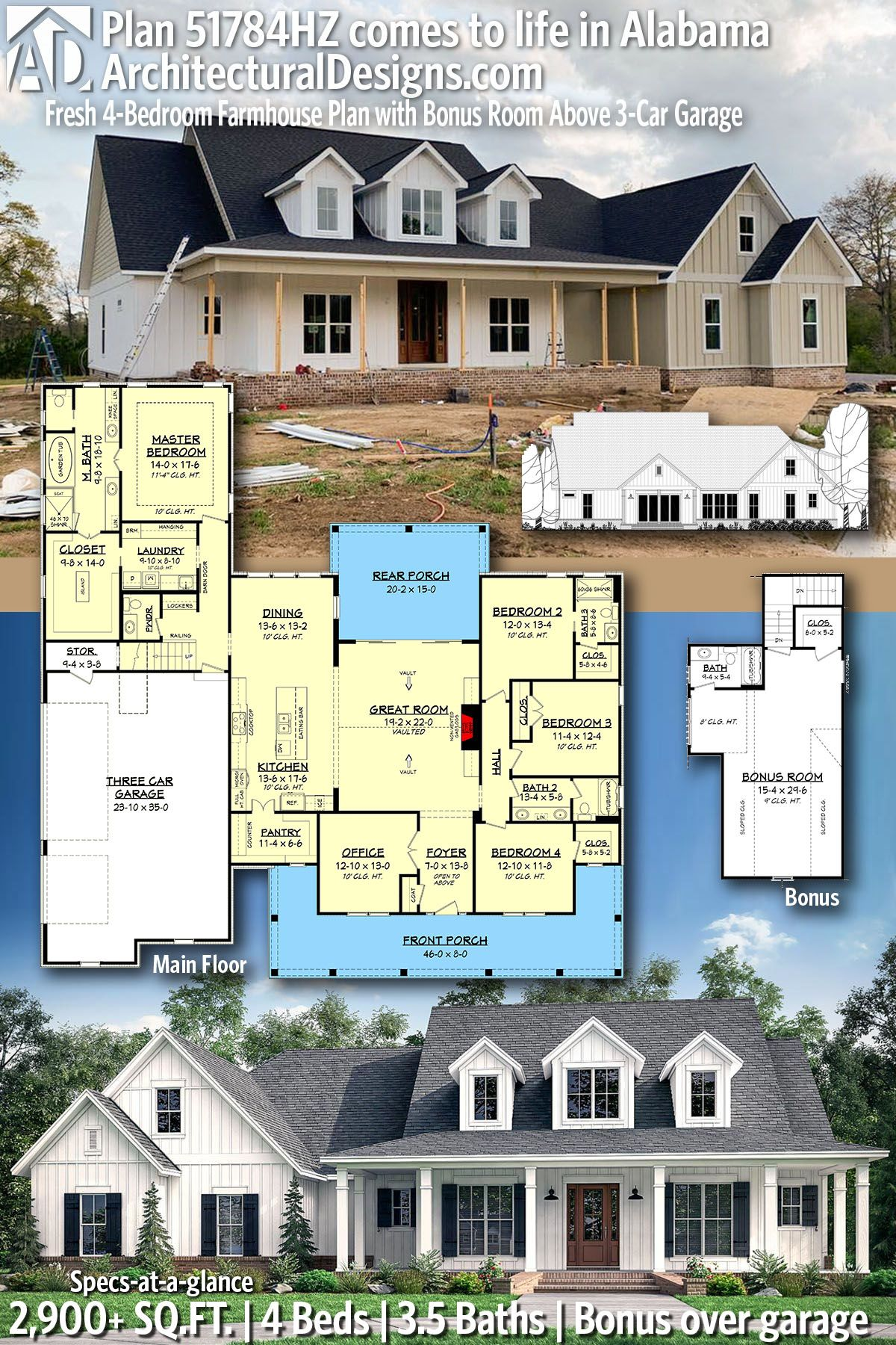 Plan 51784hz Fresh 4 Bedroom Farmhouse Plan With Bonus Room Above 3 Car Garage Farmhouse Plans House Plans Farmhouse House Plans