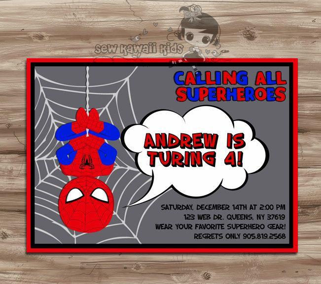 RESERVED for Jaime DeVitis Spiderman birthday invitations