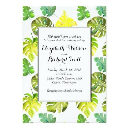 #wedding - #Watercolor Tropical Leaves wedding invitation