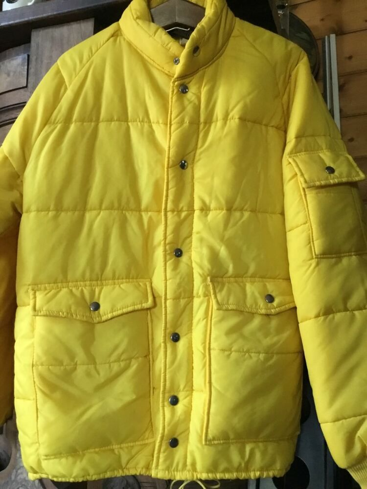 d4a6f658b mens vintage bright yellow swingsters puffy winter jacket sz lg made ...