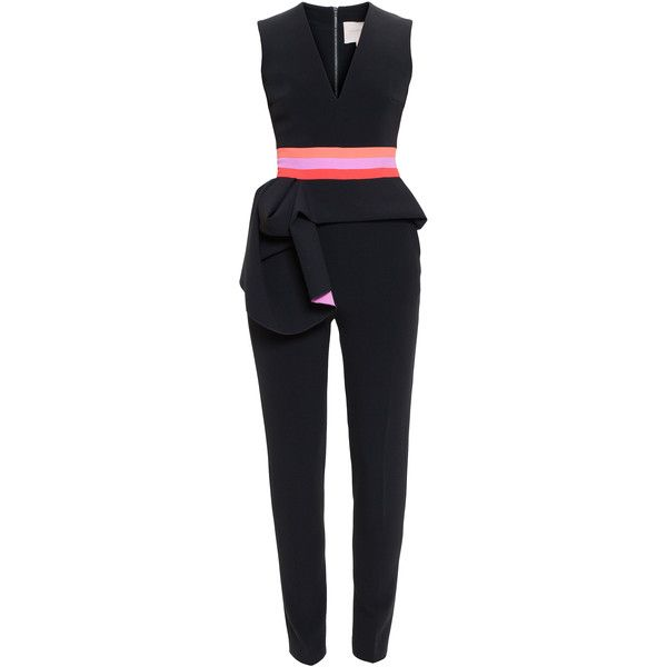 Roksanda Ruffle Waist Jumpsuit (€1.190) ❤ liked on Polyvore featuring jumpsuits, pink jumpsuit, black sleeveless jumpsuit, roksanda, ruffle jumpsuit and black jumpsuit