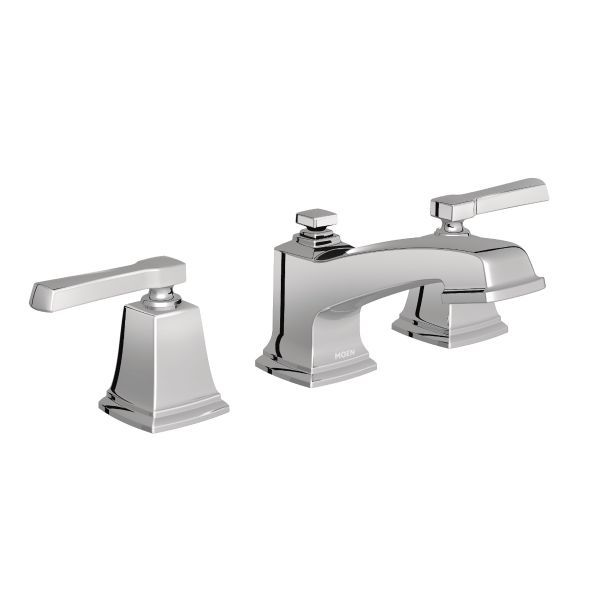 Boardwalk Chrome Two Handle Low Arc Bathroom Faucet   WS84820   Moen