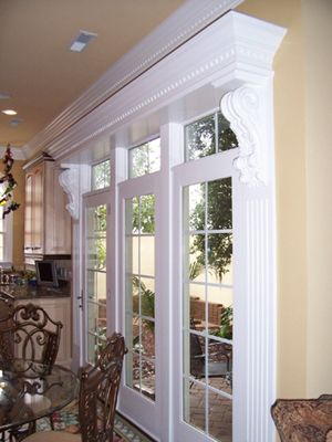 Large Wooden Corbels Frame French Doors These Hand Carved Wooden